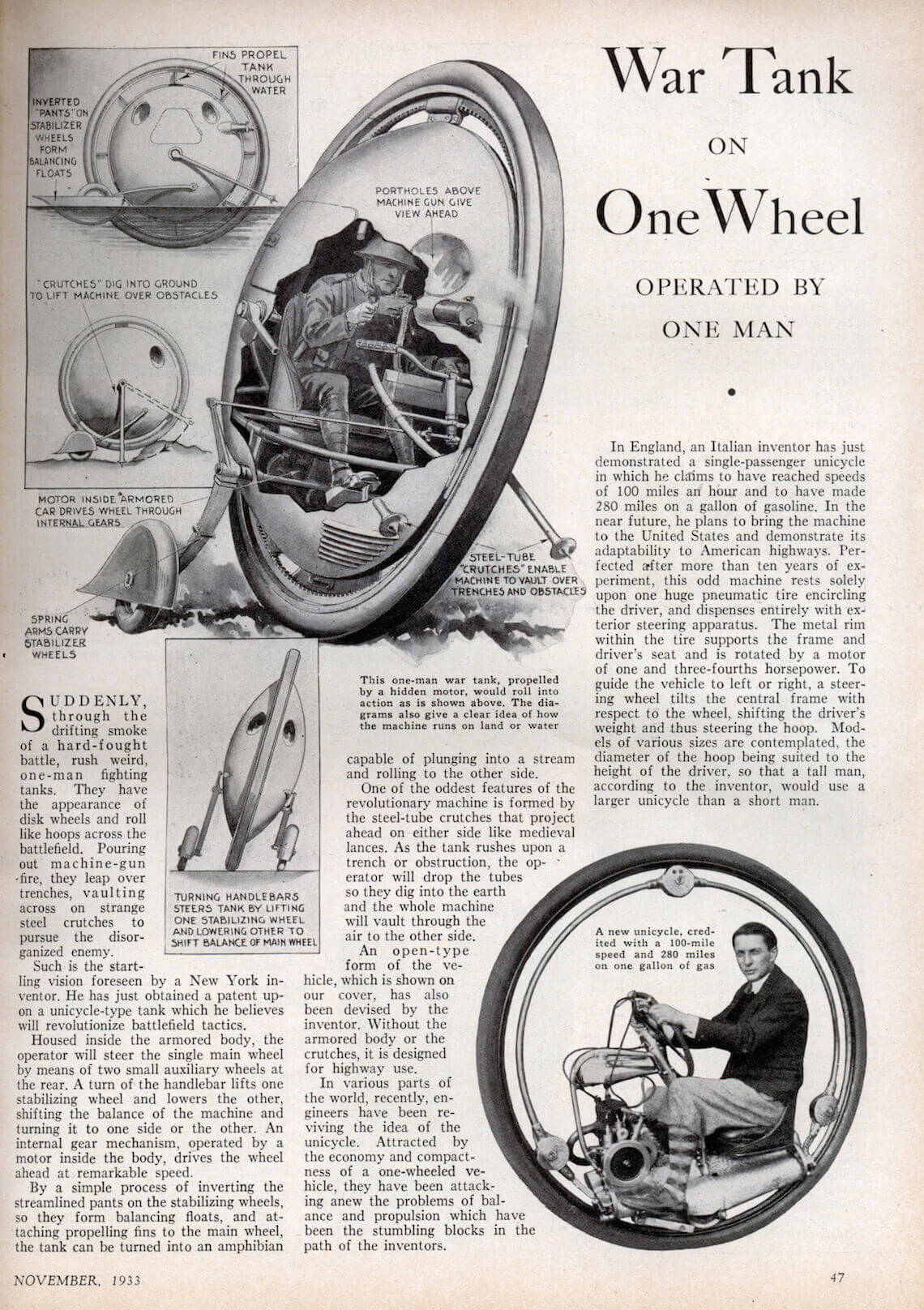 monowheel with guns